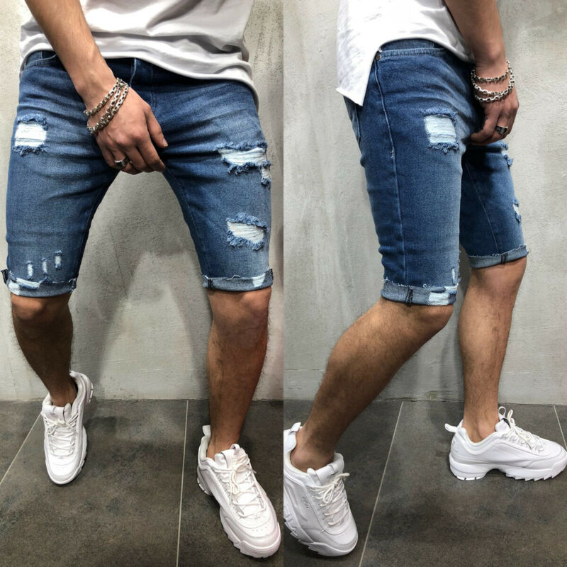 Goocheer New Men's Short Ripped Jeans Fashion Casual High Quality Retro Elastic Denim Shorts Male Brand Clothes Plus Size 3XL