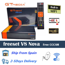 DVB-S2 Gtmedia V8 nova Satellite TV Receiver Built-in wifi Freesat V8 Spanish warehouse Free Europe Cline H.265 gt media v8 nova цена и фото