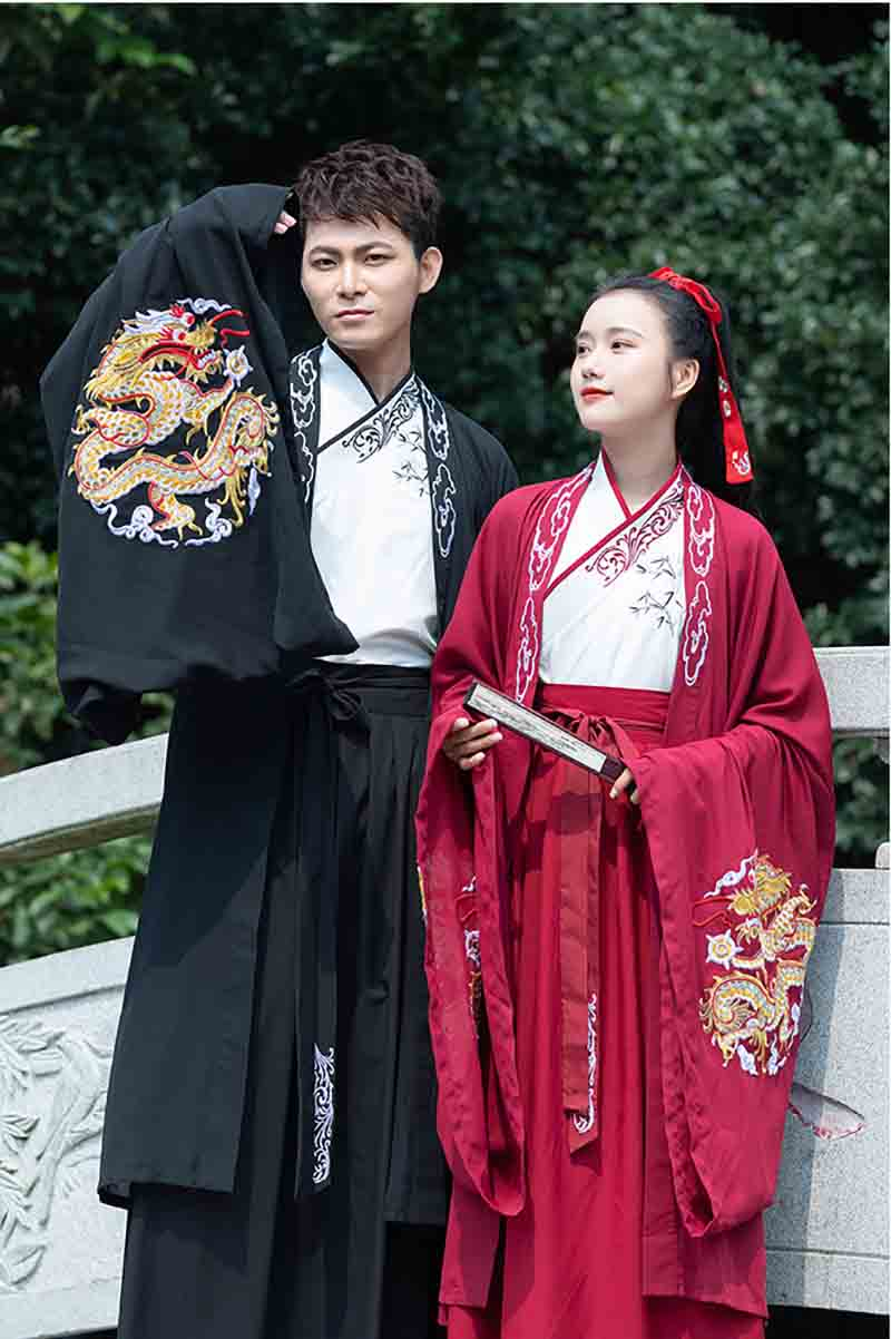 Couples Hanfu Deluxe Traditional Vintage Chinese Hanfu Fancy Dress Adult Halloween Cosplay Costume For Men/Women Plus Size 2XL