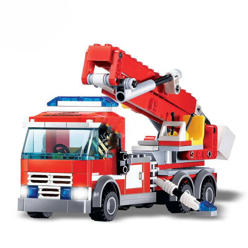 8053 244 шт. пожарная машина городская серия конструкторных блоков, Детские кубики, развивающие мс модели игрушки для детей