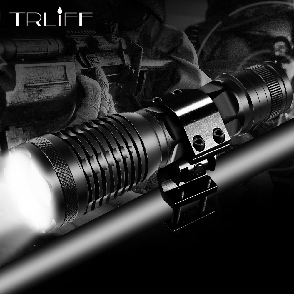LED Hunting Flashlight V6 L2 T6 Tactical Flash Light Torch Zoomable Lamp Fishing Lantern 5 Modes Use 18650 Gun Mount