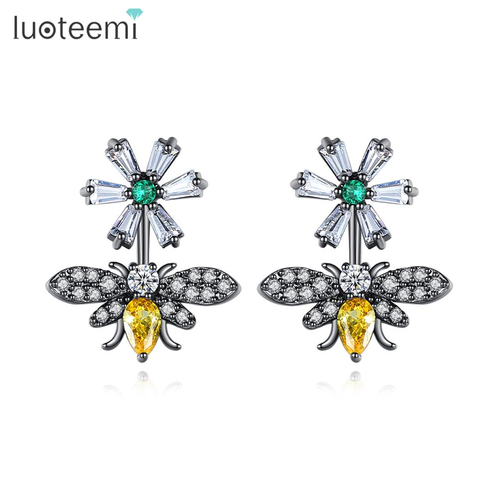 LUOTEEMI Brand Delicated Small Bee & Flower Stud Earrings For Women Girls Party Fashion Jewelry Pendientes Christmas Gift