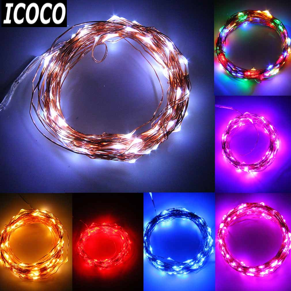 ICOCO 1pcs 2m/5m/10m LED Copper Wire Battery Operated String Fairy Light Lamp For Xmas Wedding Party Lamp 4.5V Flash Deal Sale