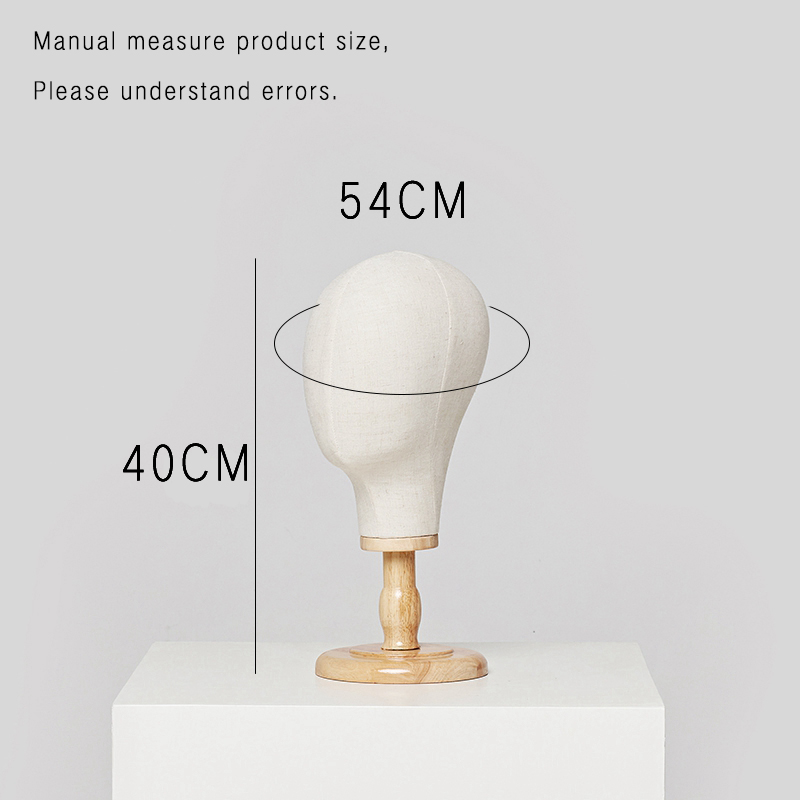 Wig Tools 21 Inches Cork Canvas Block Head Mannequin Manikin Wig Making Hat Display Styling Head With Wooden Stand Beige