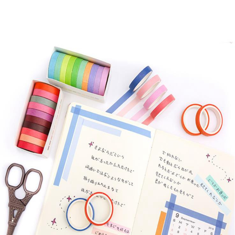 10pcs/lot  Fall Rainbow Masking Washi Tape Set Paper Masking Washi Tape Japanese Stationery Kawaii Scrapbooking Supplies Sticker 5