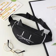 Женская мини-поясная сумка Joker с милыми кошачьими ушками, с принтом, модный нагрудный карман, пояс для денег, сумка на плечо marsupio