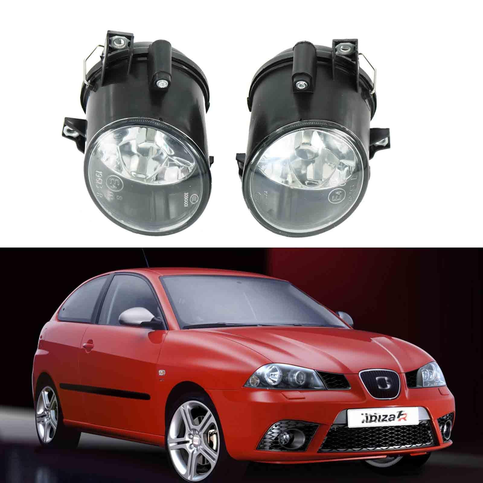 2 個車のライト Seat Ibiza 2006 2007 2008 2009 フロントバンパーフォグライトフォグライトなし電球