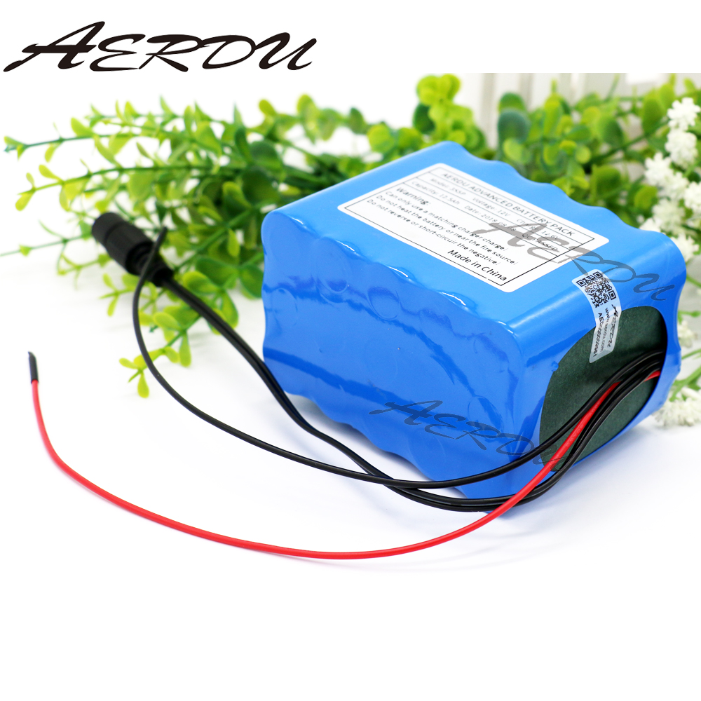 AERDU <font><b>12V</b></font> <font><b>10Ah</b></font> 3S4P 250watt 11.1V 12.6V 18650 <font><b>lithium</b></font> Rechargeable <font><b>battery</b></font> pack LED lamp light backup power with 25A BMS image