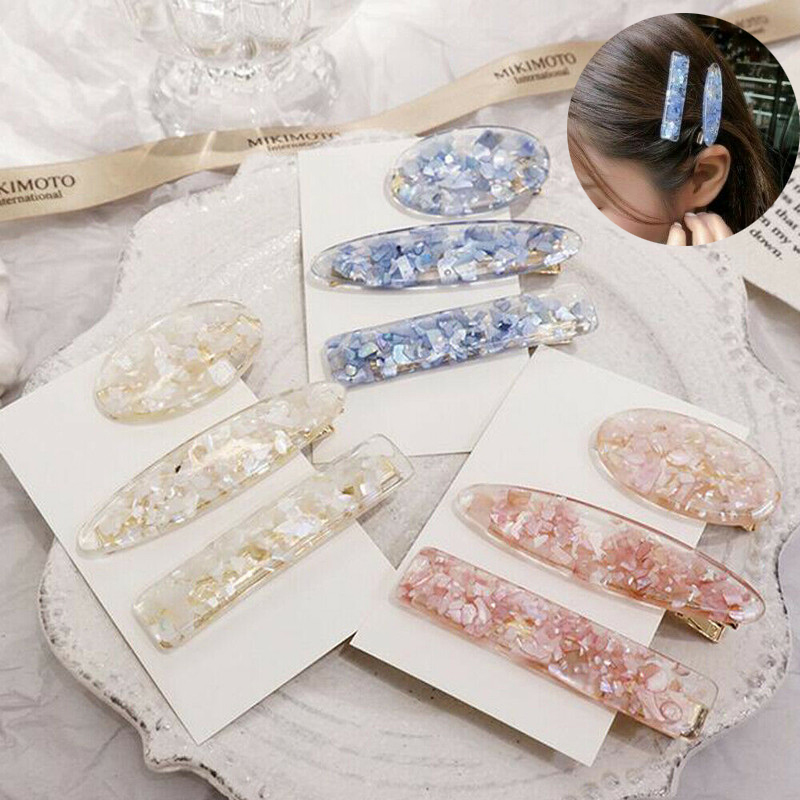 New Design Koream Style Girls Hair Clip Hollow Geometric Water Drop Shape Square Hairgrips Colored Marble Textured Printed