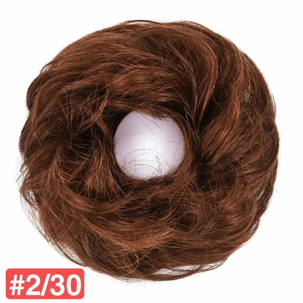 100% Rambut Manusia Bun Sanggul Remy Rambut Palsu Palsu Donat Ekstensi Karet Brasil Rambut Potongan Roti untuk Wanita Dikepang Sanggul