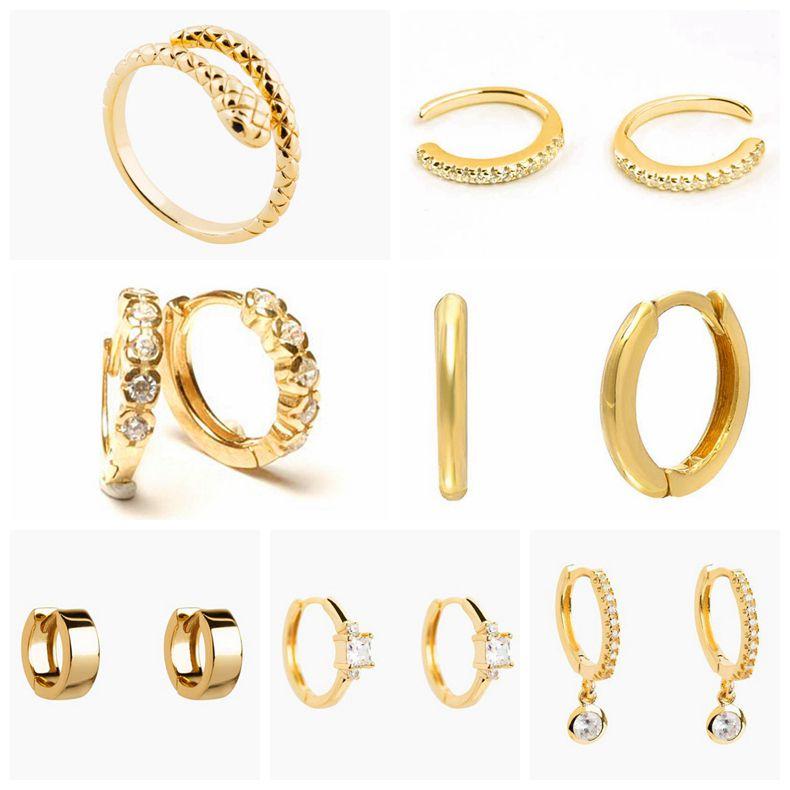 925 Sterling Silver Earrings For Women Gold Small Hoop Earrings Girl Ear Bone Earring Zircon Snake Star Evil Eye Aretes A30