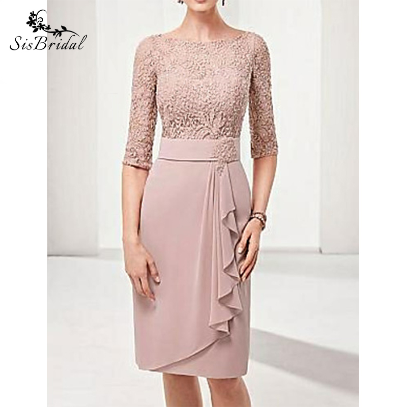 Sheath/Column Bateau Knee Length Polyester Mother Of The Bride Dress With Lace
