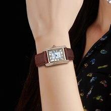 Часы женские с бриллиантами роскошные модные квадратные коричневые