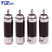 4 stücke RCA Stecker Stecker Männlich HiFi Lautsprecher Jack Carbon Fibre Tellur Kupfer Rhodium Überzogene HiFi Audio Verstärker DIY RCA buchse