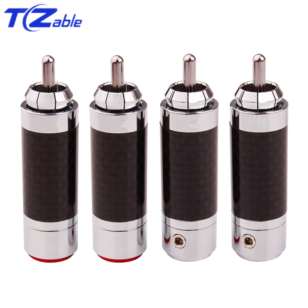 4pcs RCA Plug Connector Male HiFi Speaker Jack Carbon Fibre Tellurium Copper Rhodium Plated HiFi Audio Amplifier DIY RCA Socket