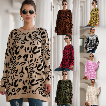 Womens sweater 2020 new spring, summer and autumn European American womens leopard popular loose