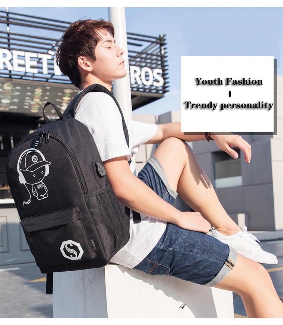 Nova mochila para escola anime luminosa saco