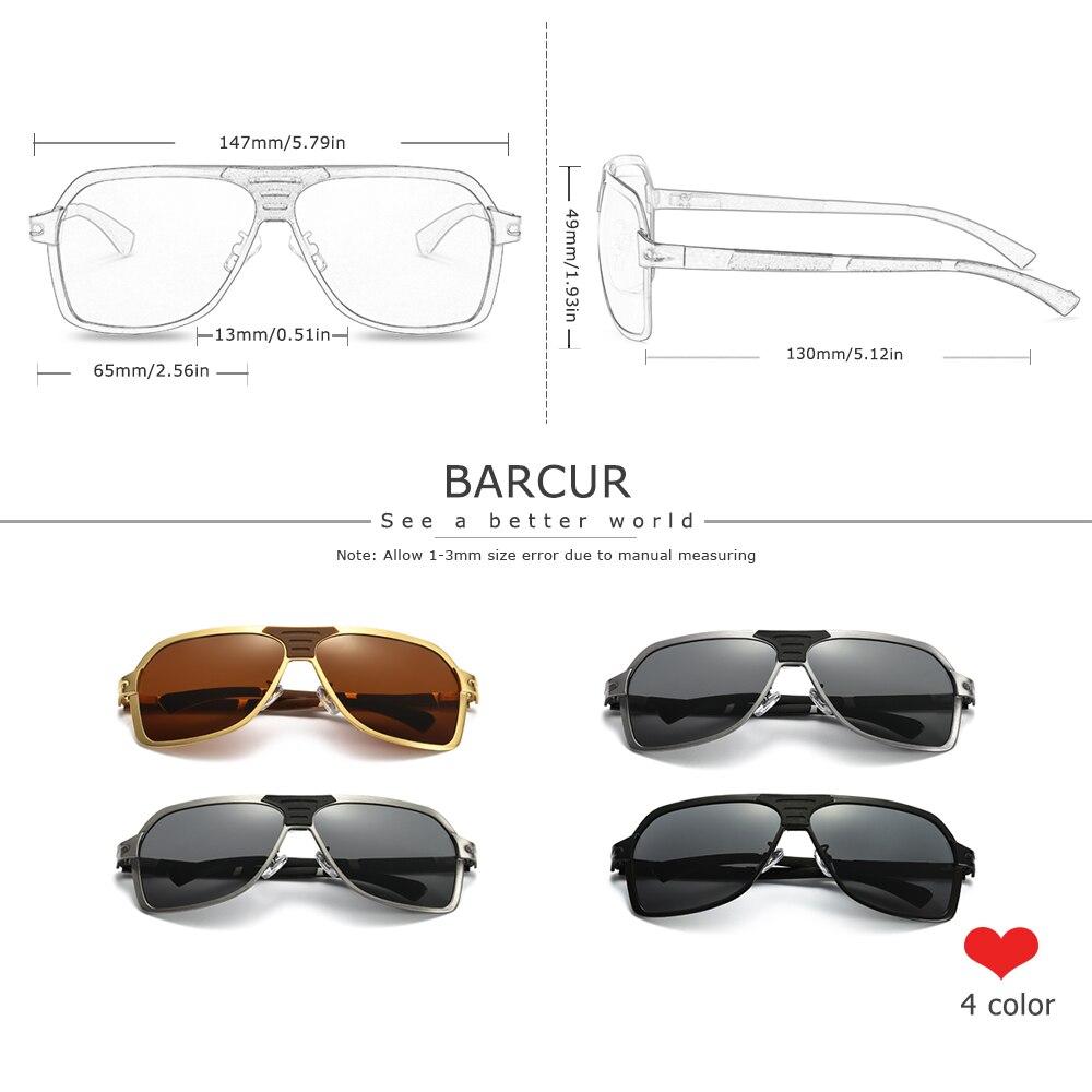 Image 2 - BARCUR الأسود نظارات الذكور العلامة التجارية مصمم القيادة النظارات الشمسية الرجال نظارات شمسية مستقطبة الرجال اكسسوارات oculos دي سولنظارات شمسية رجالية   -
