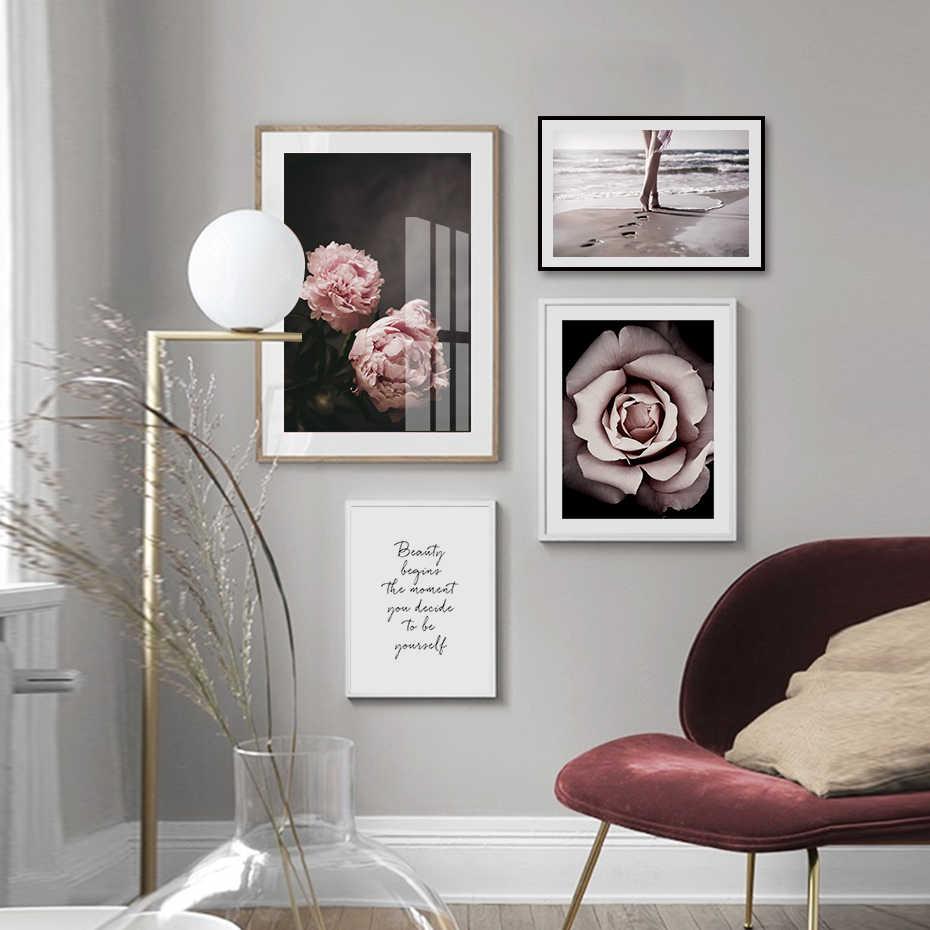 Peônia rosa pintura da lona floral arte da parede fotos beleza citações galeria poster impressão interior sala de estar decoração casa sem moldura