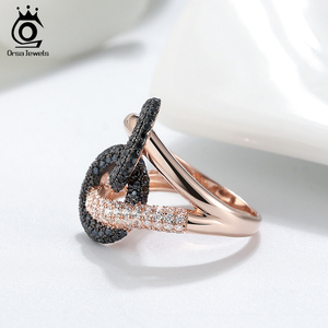Image 3 - לאורסה תכשיטים יוקרה לשלב מעגל קוקטייל טבעות מבריק מעוקב זירקון Infnite חתונת אירוסין טבעת תכשיטים טרנדי SR172