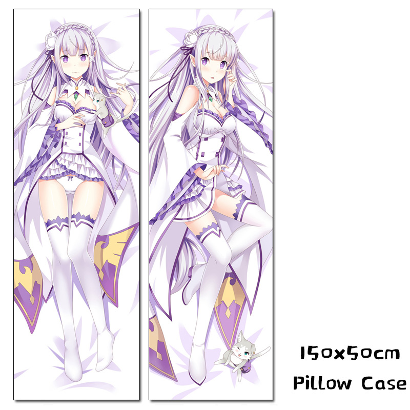 Re Zero Emilia Anime Hugging Body Pillow Case Cover Dakimakura 150x50cm