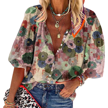 CINESSD Turn Down Collar Print Women Blouses Blue Cardigan Button Casual Tops Red Long Sleeves Single Breasted Bohemian Blouse blue cold shoulder long sleeves lace blouses