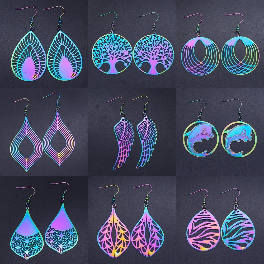 Unique Rainbow Tree of Life Fashion Drop Earring for Women Angel Wing Geometric Waterdrop Statement Earrings