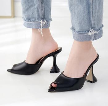 2020 Women's Shoes Sardinian Fish Mouth Wine Glass With High With Slipper Sharp Hollow Out Woman Sandals