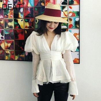 DEAT 2020 nueva primavera y verano Palacio estilos puff mangas cuello en V de alta cintura ajustado sexy dobby Lino camisa femenina blusa blanca