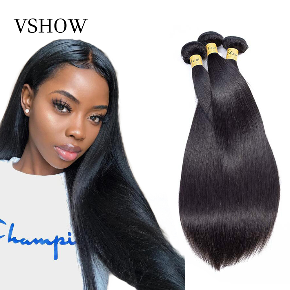 VSHOW Malaysian Straight Hair Bundles Natural Color 3 Or 4 Bundles Deals Hair Extension 100% Remy Human Hair Weave