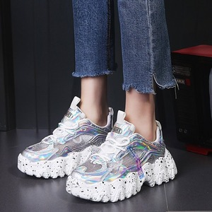 Image 3 - סניקרס נשים אביב 2020 אופנה נצנצים בד בלינג לנשימה בוהן עגול פנאי שמנמן נשים נעלי Tenis Feminino