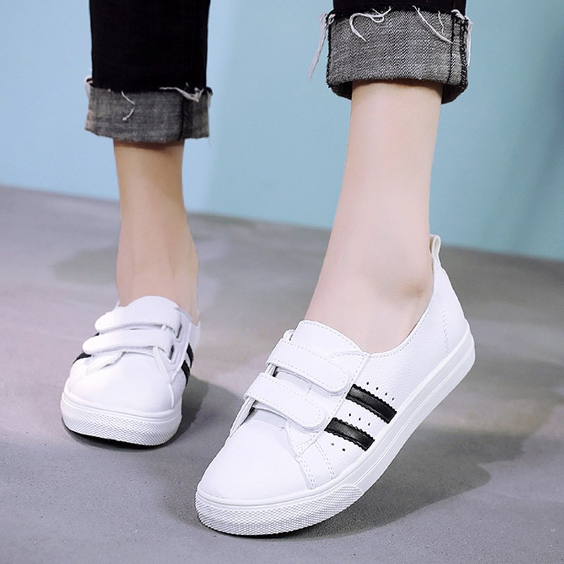 Women 39 s Vulcanize Shoes Sneakers White Color Hook amp Loop Pu Leather Shoes White Sneakers Women Rubber Sole Ladies Shoe C0087 in Women 39 s Vulcanize Shoes from Shoes