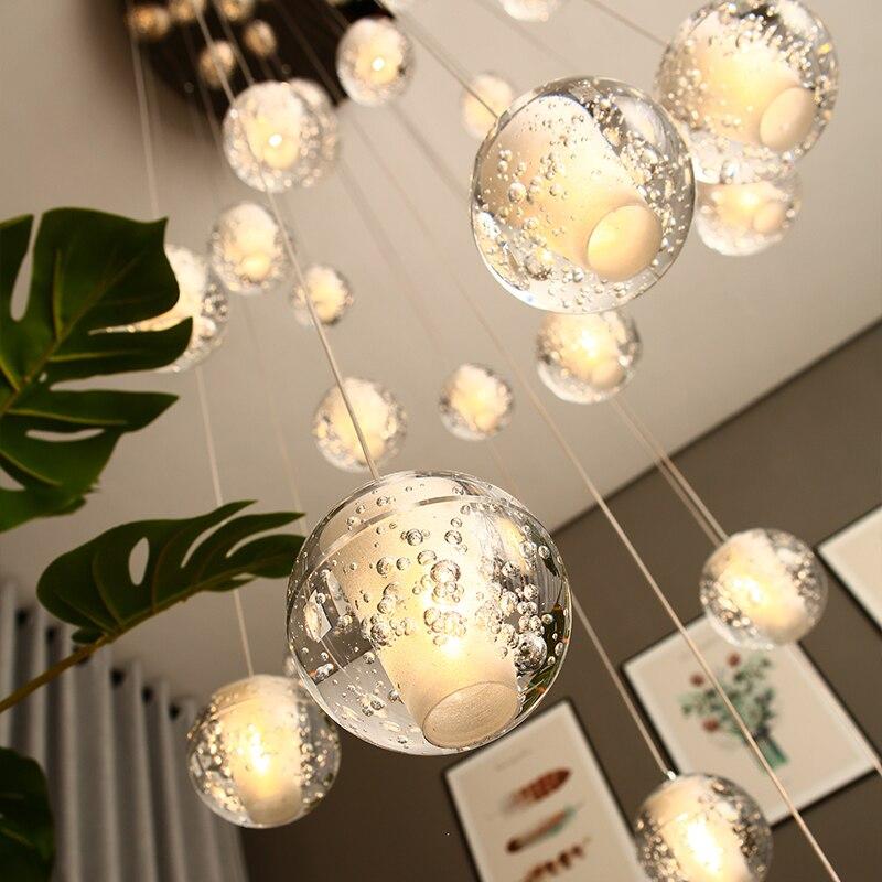 Moderne Kristall Glas Ball LED Anhänger Lichter Leuchten Mehrere Treppe Lampen Bar Hängen Lampe Für Hotel Villa Duplex Wohnung