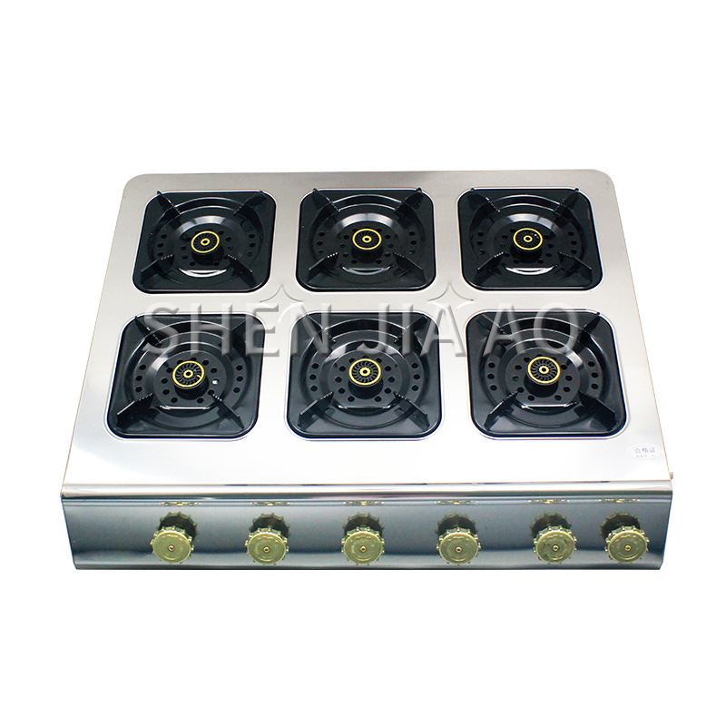 Desktop six heads gas cooktops Medium high pressure square gas stove fire burner furnace multi purpose 6 holes gas stove 4kw hot|Cooktops| |  - title=