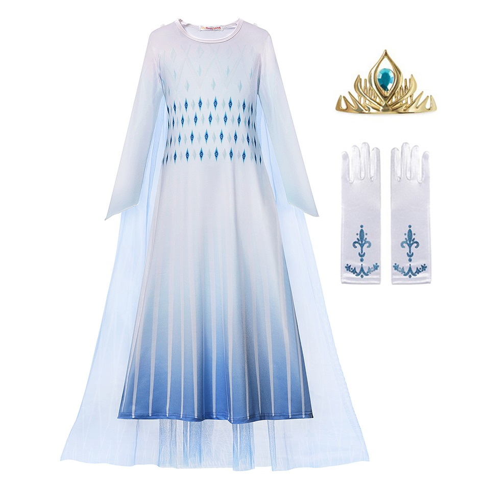 MUABABY Girls New Elsa Princess Dress Up Costume Children Long Sleeve Printed Nightgown Halloween Snow Queen 2 White Party Dress