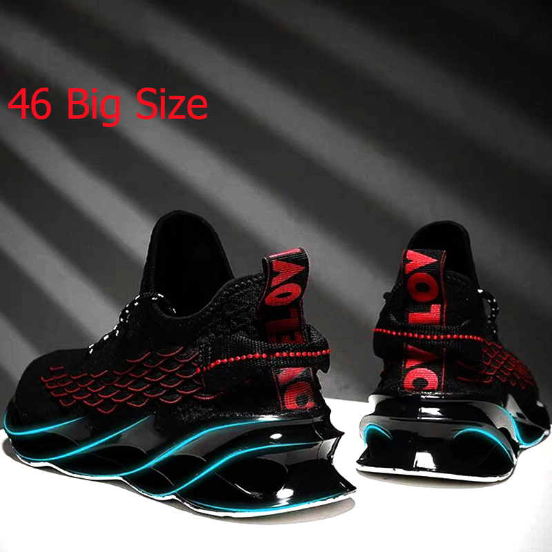 2020 New Running Shoes For Men's Black Sports Shoes Comfort Sneakers Breathable Lightweight Casual Lace-up Sneakers Fashion 46
