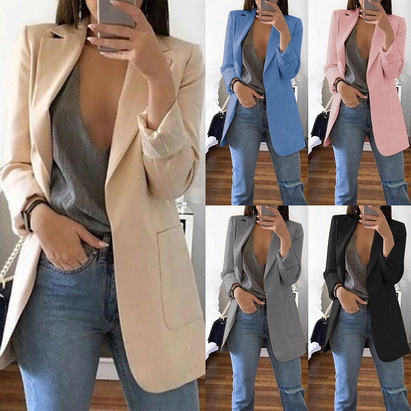 Plus Size Blazer Slim Career Top 15 Colors Outwear Long Coat Jacket Women Casual