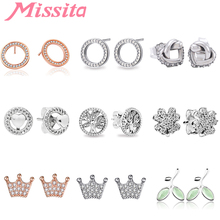 MISSITA 100% 925 Sterling Silver Tree of Life Earrings For Women Jewelry Brand Wedding Stud Party Gift