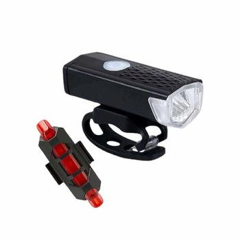 Bike Light Bicycle Lamp Light Front Headlight And Tail Lights USB Rechargeable 3 Modes 300 Lumens LED Flashlight Lantern STLM image