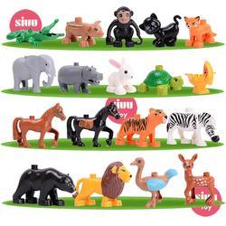Juguetes Educativos de bloques de construcción grandes de figuras de modelos de Series de animales de una sola venta para niños, regalo Compatible con duploeles