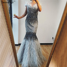Dubai Design Grau Luxus Sexy Prom Kleider Kristall Federn Weg Schulter Prom Kleider 2020 Ruhigen Hill BLA70242