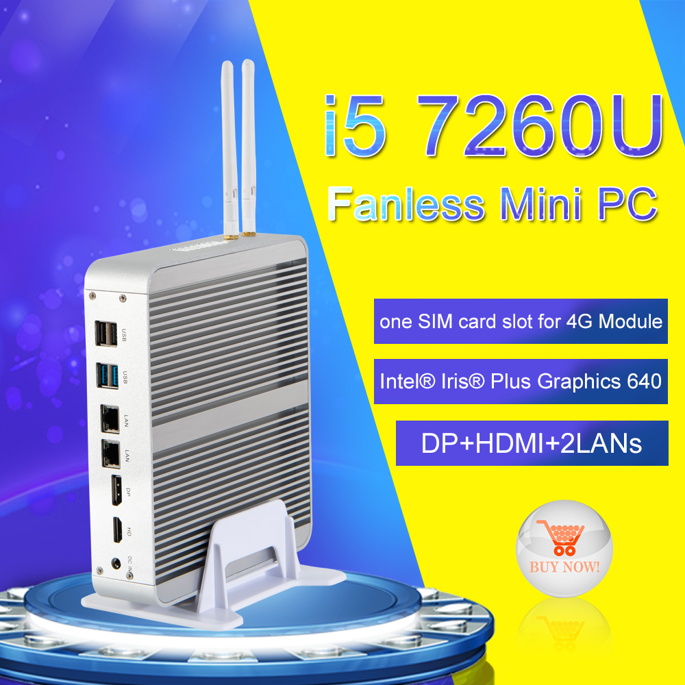 EGLOBAL Gaming Pc Intel Iris Plus Graphics 640 7260E With SD Card Reader Support DP Fanless Computer