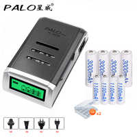 4 Slots LCD Smart Charger for AA / AAA Batteries + 4 Pcs AA 3000mah + 4 Pcs AAA1100mah Nimh Rechargeable Batteries