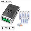4 Slots Lcd Carregador Inteligente Para Baterias Aa/aaa  4 Pces Aa 3000mah  4 Pces Aaa1100mah Nimh Baterias Recarregáveis