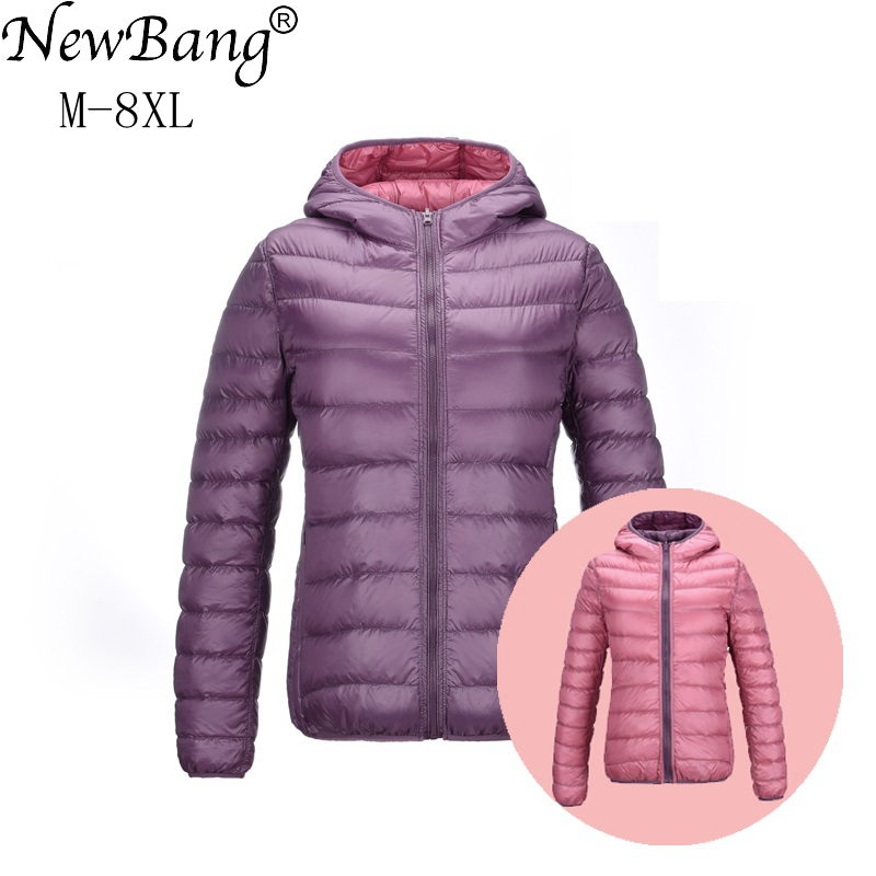 NewBang 7XL 8XL  Down Jackets Women Ultra Light Down Jacket Women Feather Jackets Double Side Reversible Lightweight Warm Coats