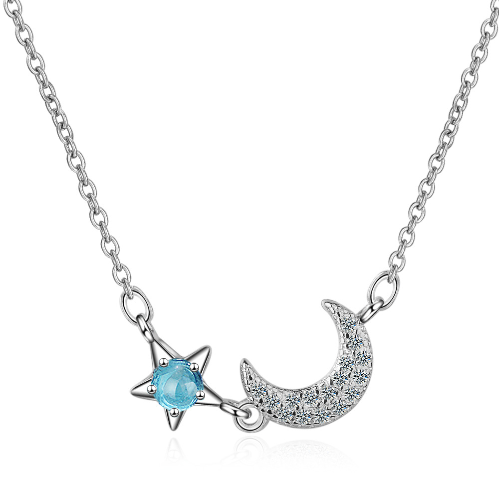 Sweet New Artificial Blue Crystal Moon Star Choker Clavicle Necklace for Women Girl 925 Sterling Silver Zircon Necklaces Jewelry