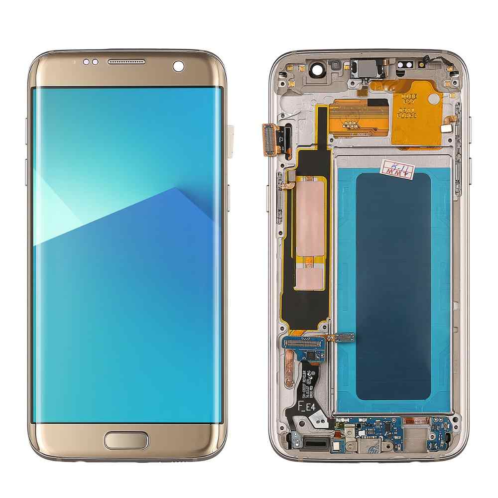 شاشات LCD لسامسونج S7 حافة lcd G935F G935FD شاشة الكريستال السائل و مجموعة المحولات الرقمية لشاشة تعمل بلمس سوبر Amoled استبدال LCD