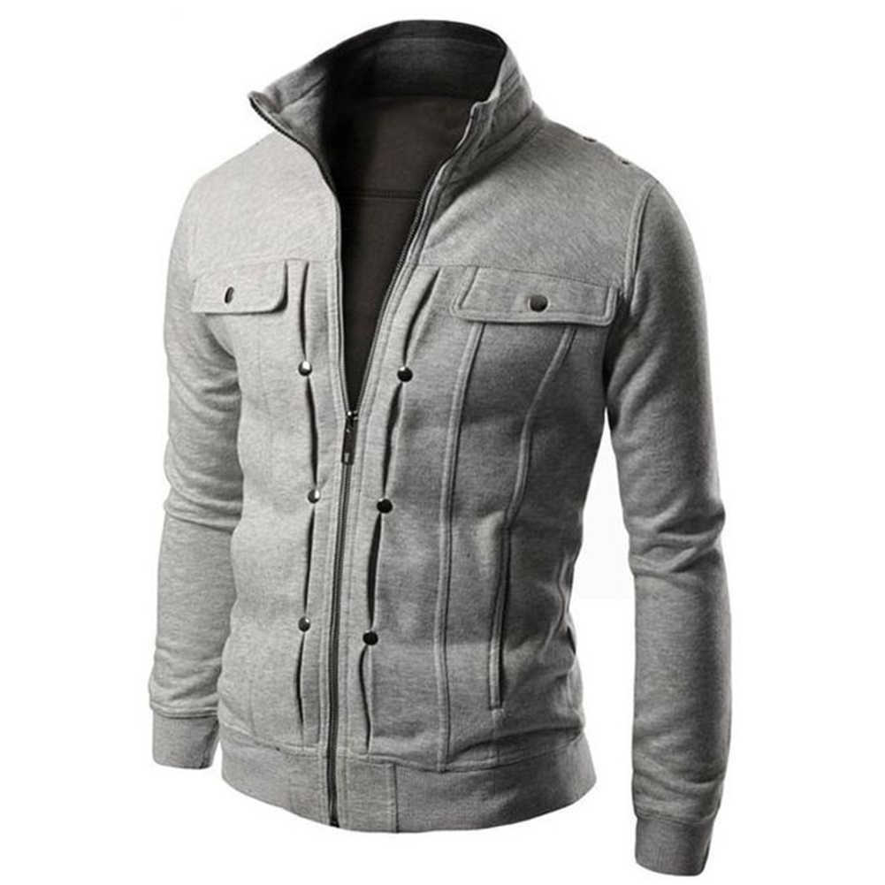 플러스 사이즈 남성 솔리드 컬러 스탠드 칼라 긴 소매 지퍼 포켓 슬림 자켓 코트