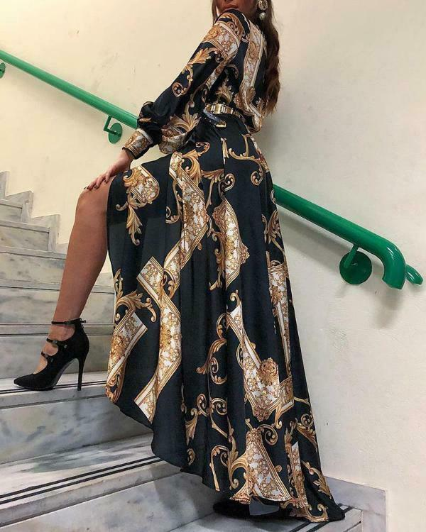 Women Long Maxi Boho Dress New 2019 Autumn Floral Beach Long Slit Evening Party Long Sleeve Sun Dresses