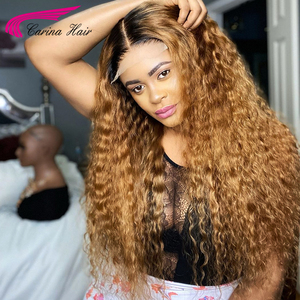 Image 5 - Honey Blonde Ombre Curly Lace Front Human Hair Wigs With Baby Hair 13x6 Lace Front Wig 180% Ombre Brown 360 Lace Frontal Wigs
